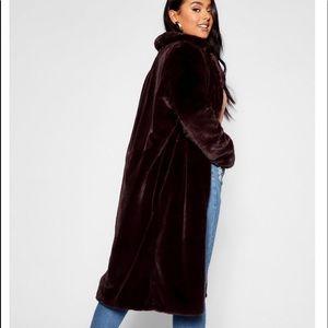NWT Chocolate Brown Faux Fur Maxi Coat